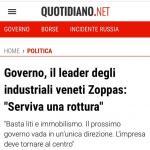 ++++ GOVERNO, IL LEADER DEGLI INDUSTRIALI VENETI ZOPPAS: