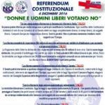 REFERENDUM COSTITUZIONALE 4 DICEMBRE 2016: DONNE E UOMINI LIBERI VOTANO NO!